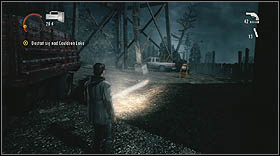 Jump down to the lower floor through a hole in the floor - Walkthrough - Episode 6: Departure - Walkthrough - Alan Wake - Game Guide and Walkthrough