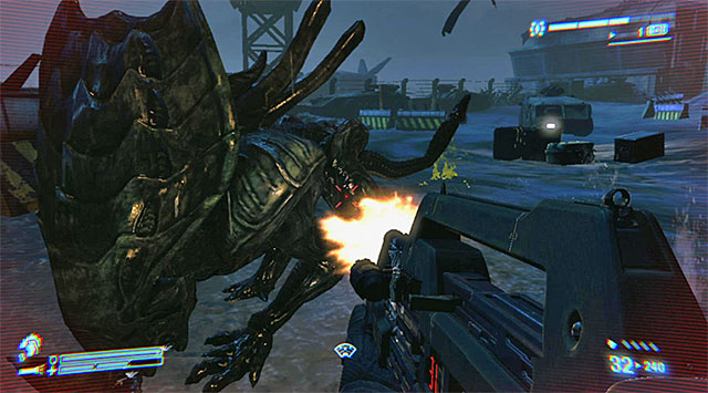 Focus primarily on dodging to avoid the alien's charges - Get to the dropship pad to get Reid airborne - Mission 9: Hope in Hadleys - Aliens: Colonial Marines - Game Guide and Walkthrough
