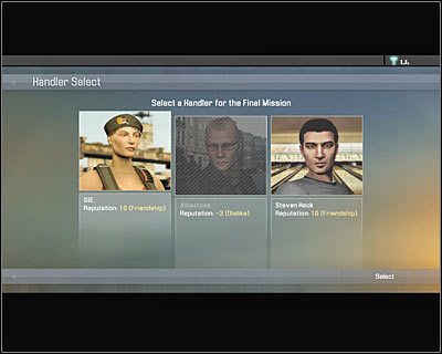The game will allow you to choose a handler for this mission (screen) - Walkthrough - The finale - Infiltrate Alpha Protocol - Walkthrough - The finale - Alpha Protocol: The Espionage RPG - Game Guide and Walkthrough