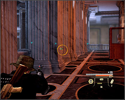 You have to be very careful here, as there are lots of move-sensitive mines in the area - Walkthrough - Rome - Intercept Marburg at Museum of Art - Walkthrough - Rome - Alpha Protocol: The Espionage RPG - Game Guide and Walkthrough