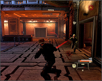 If you do have the weapons and abilities to fight him directly, always begin with eliminating his two bodyguards - Walkthrough - Rome - Intercept Marburg at Museum of Art - Walkthrough - Rome - Alpha Protocol: The Espionage RPG - Game Guide and Walkthrough