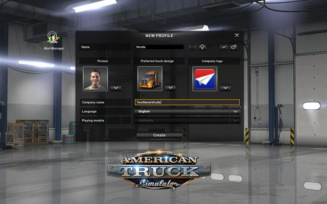 Player Profile And Central Selection  First Steps - American Truck Simulator Game