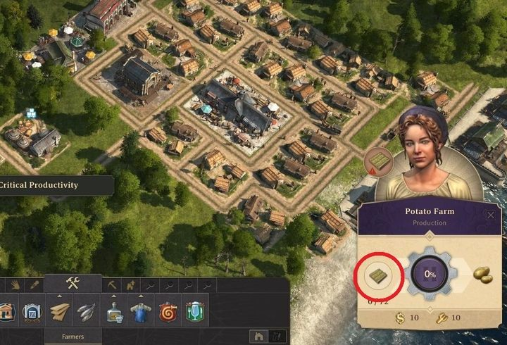 Once you place a farm, select it - to the left of the spinning wheel you will find information about the current number of fields - How to create fields for farms in Anno 1800? - FAQ - Anno 1800 Game Guide