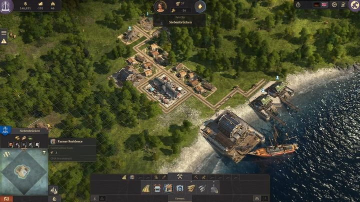 You Begin the game with a ship, significant amount of space, and a given amount of gold - Development and dwellers needs in Anno 1800 - Basics - Anno 1800 Game Guide