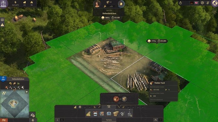 Now, you should build 2-3 Timber yards in a forest, slightly away from your city - 5 steps to build an epic empire in Anno 1800 - City management - Anno 1800 Game Guide
