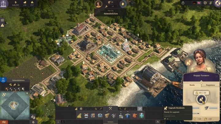 Wait for the products to reach the marketplace - select one of the farmer residences and upgrade your peasants to workers - 5 steps to build an epic empire in Anno 1800 - City management - Anno 1800 Game Guide