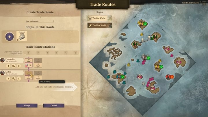 Now select which goods (and specify the quantity) you want to upload to your destination and select the island on which the sale takes place - How to trade with others in Anno 1800? - FAQ - Anno 1800 Game Guide