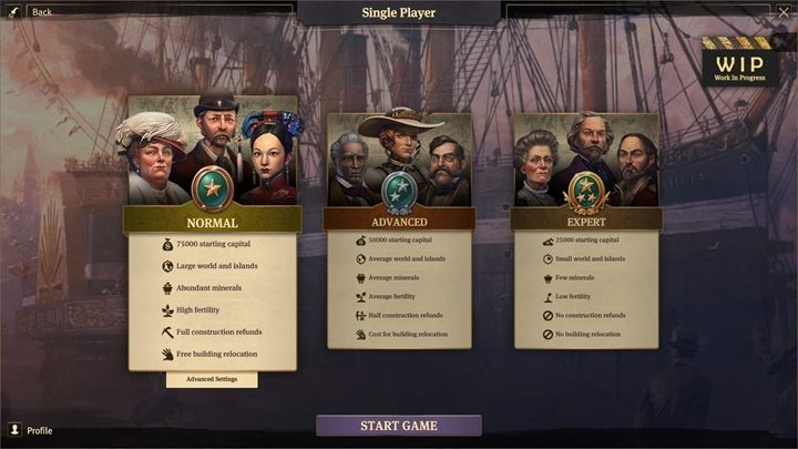 In the game you can choose between normal, advanced and expert levels - Scenario customization in Anno 1800 - Basics - Anno 1800 Game Guide