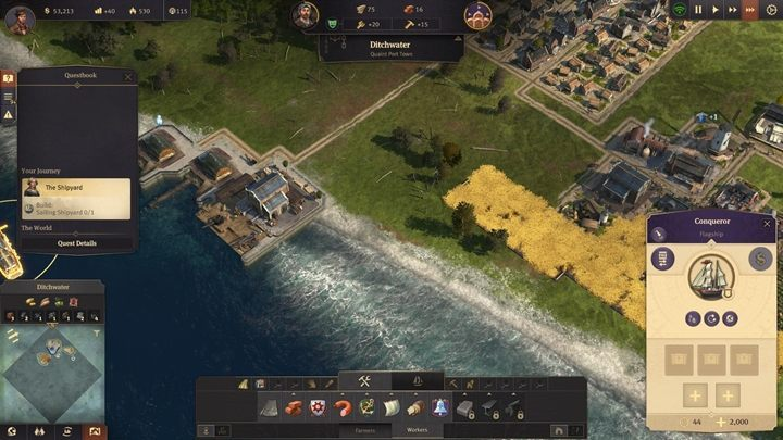 Your task is to build a Shipyard, which will finally allow you to operate on the sea, trade with others, and so on - Chapter 1 - A Tale of Two Brothers - Anno 1800 Walkthrough - Campaign - Anno 1800 Game Guide