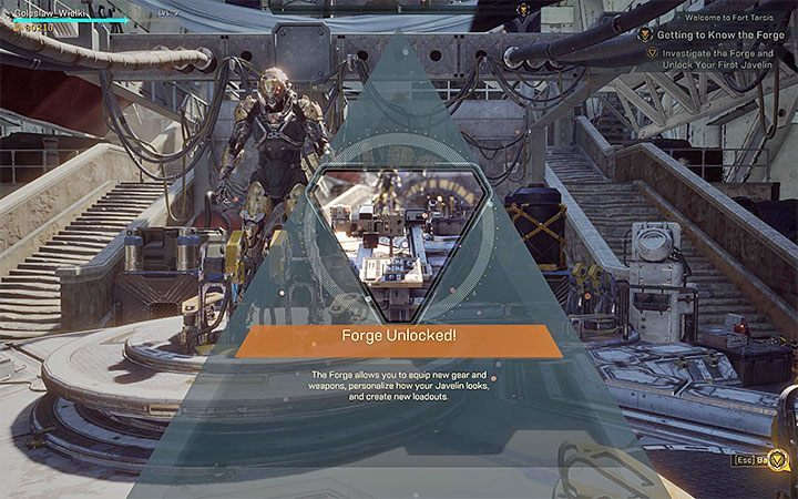 You cant use the Forge right after you arrive in Fort Tarsis for the first time - Where is the Forge in Anthem? - FAQ - Anthem Guide