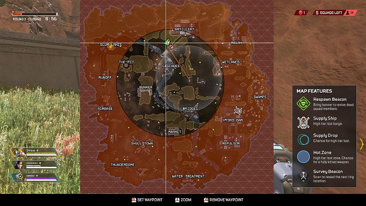 The arena in Apex Legends is surrounded by a special ring which as the time progresses, starts to become smaller and smaller - Starting tips for Apex Legends - Starting tips - Apex Legends Guide