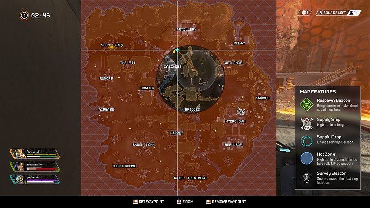 At this moment, the ring encloses really fast, and the players have much less area to walk around freely - Round 3 and 4 - match ending in Apex Legends - The match and rounds - Apex Legends Guide