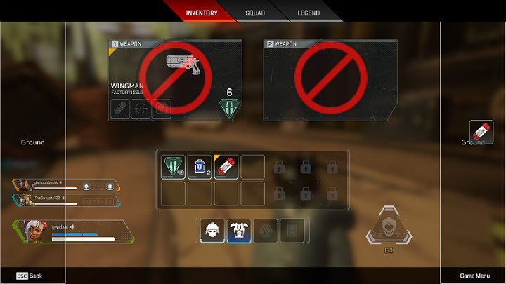 Removing items from the inventory is a very useful ability that will help you organize space in your backpack, or enable you to share your items with the rest of the team - How to remove an item in Apex Legends? - FAQ - Apex Legends Guide