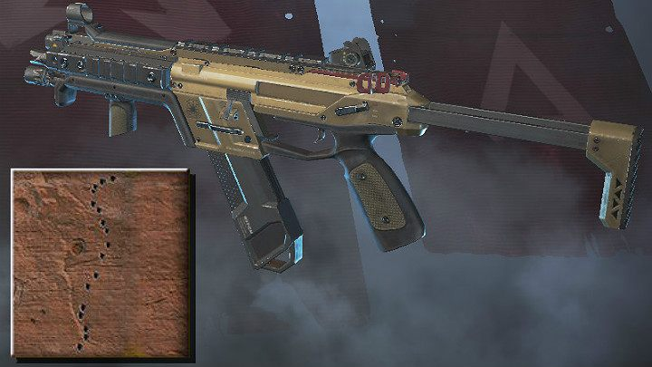 The screenshot above shows the spray pattern for R-99 (medium range) - SMG in Apex Legends - Weapons - Apex Legends Guide