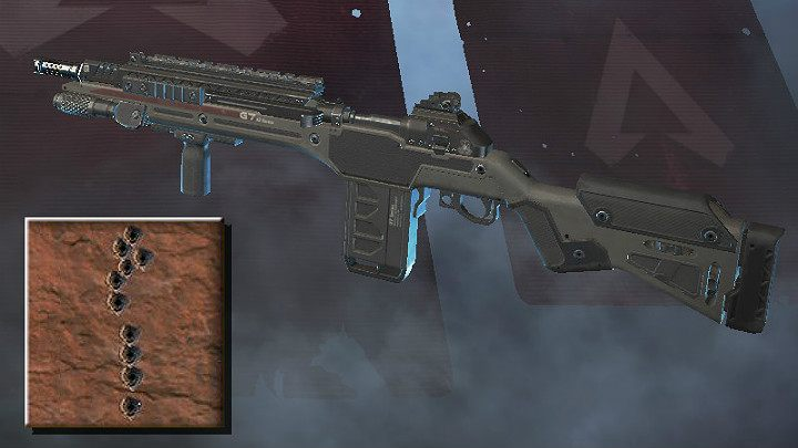 The screenshot above shows the spray pattern for G7 Scout - Sniper rifles in Apex Legends - Weapons - Apex Legends Guide