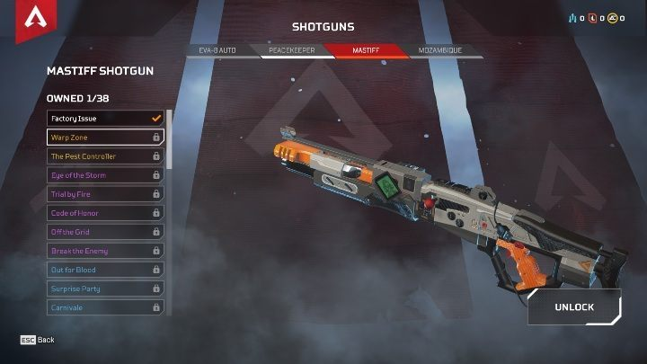 During the game, you may encounter four types of rifles - EVA-8 AUTO, PEACEKEEPER, MASTIFF, and MOZAMBIQUE - The best weapons in Apex Legends - Starting tips - Apex Legends Guide