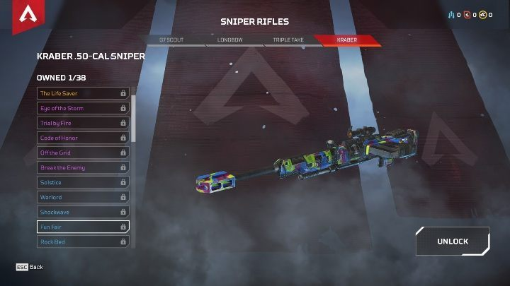 Among sniper rifles, you will find G7 SCOUT, LONGBOW, TRIPLE TAKE, and KRABER - The best weapons in Apex Legends - Starting tips - Apex Legends Guide