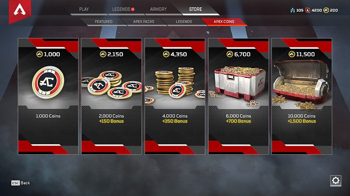 Apex Coins can be bought through the game menu, for real money - Microtransactions in Apex Legends - Currency and Apex packs - Apex Legends Guide