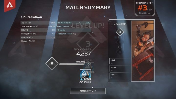 By leveling up, you can get either Apex packs or Legend tokens, or both rewards at the same time - How to gain new levels in Apex Legends? - FAQ - Apex Legends Guide