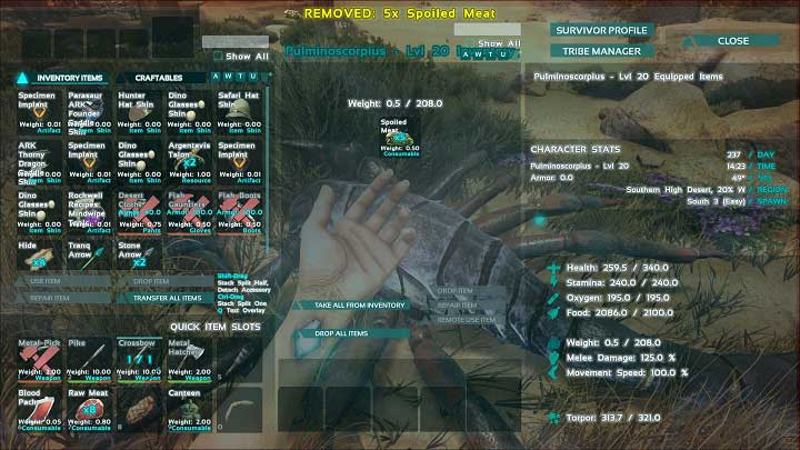 When you stun the enemy youve selected and approach it, a menu with the creatures inventory will appear, provided that you press the E button - Taming basics - Taming - ARK: Survival Evolved Game Guide
