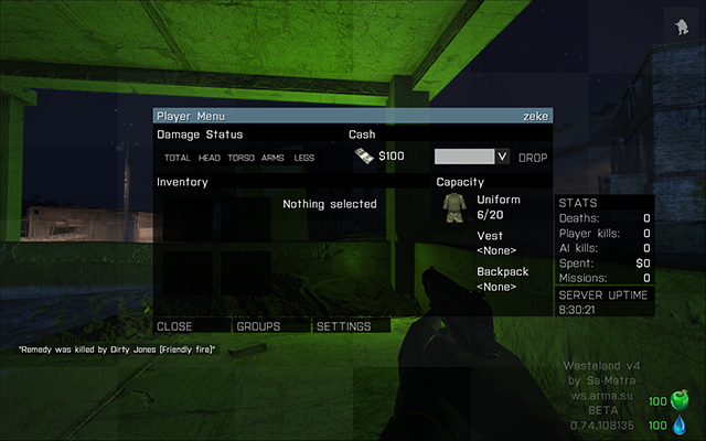 Player menu in Wasteland - Wasteland - Multiplayer servers - Arma III - Game Guide and Walkthrough