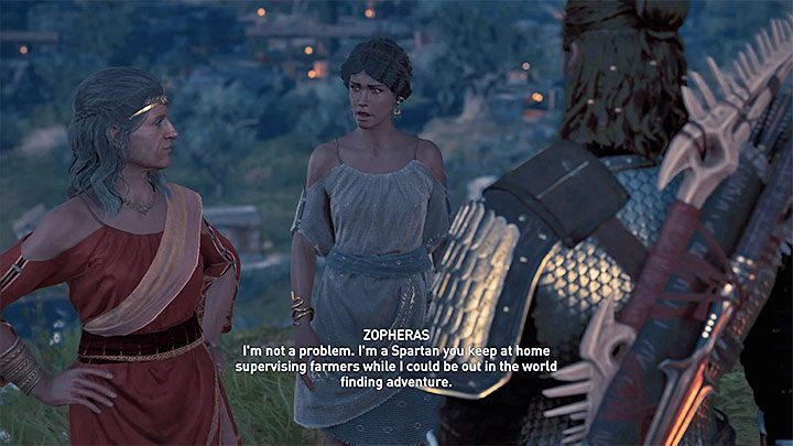 Take interest in the side quest Not My Mothers Daughter, which starts at the place shown in picture one - Zopheras - Romances in Assassins Creed Odyssey - Romances - Assassins Creed Odyssey Guide