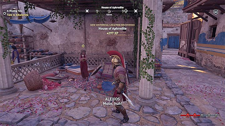 The meeting with Aikaterine takes place during the main quests in the eighth chapter (episode) of the game - Aikaterine - Romances in Assassins Creed Odyssey - Romances - Assassins Creed Odyssey Guide