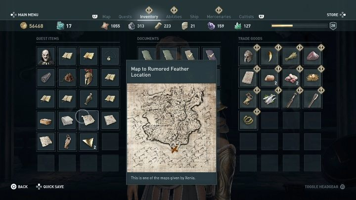 1 - Treasure hunting for Xenia in Assassins Creed Odyssey - Side Quests - Assassins Creed Odyssey Guide