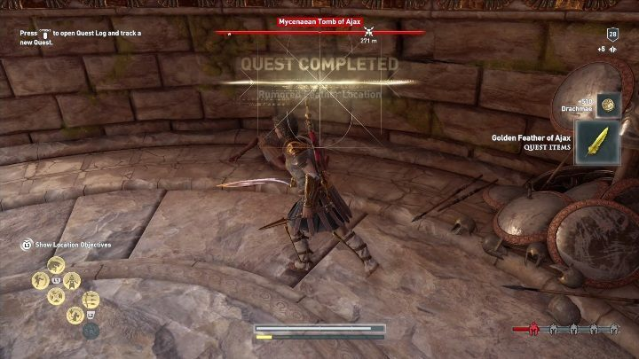 The feather is in the pile of items located on the left side of the room - Treasure hunting for Xenia in Assassins Creed Odyssey - Side Quests - Assassins Creed Odyssey Guide
