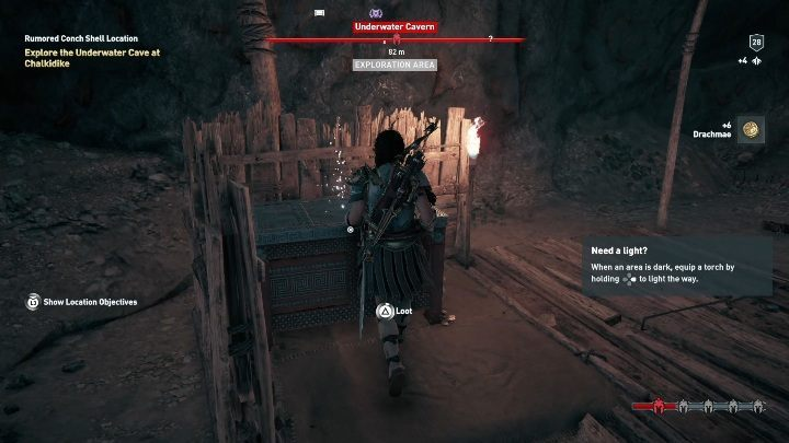 The chest is at the back of the camp - Treasure hunting for Xenia in Assassins Creed Odyssey - Side Quests - Assassins Creed Odyssey Guide