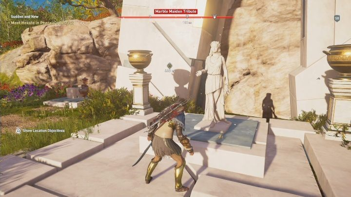 One of the Marble Maiden Tributes is found west from House of the Bloodline - Pheraias Retreat | Marble Maiden Tribute - Marble Maiden Tribute - Assassins Creed Odyssey Guide