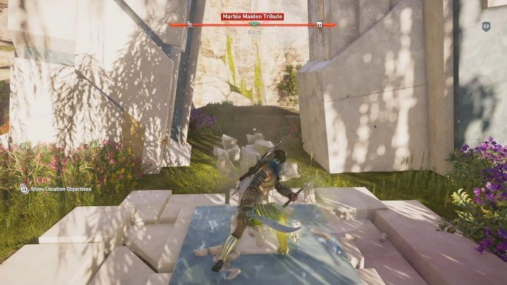 The statue is found west from Stromas High Peak - Pheraias Retreat | Marble Maiden Tribute - Marble Maiden Tribute - Assassins Creed Odyssey Guide
