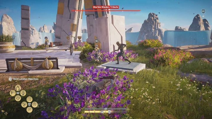 The final tribute in this location is found north from Iphigenias Compound - Pheraias Retreat | Marble Maiden Tribute - Marble Maiden Tribute - Assassins Creed Odyssey Guide