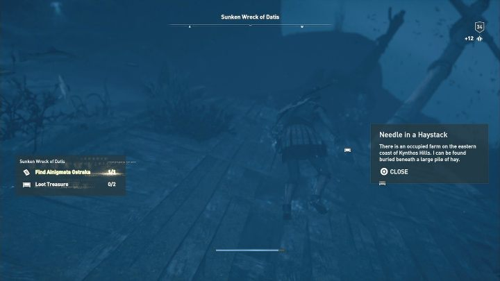The location of this Ainigmata Ostraka: Go to the Sunken Wreck of Datis - Ainigmata Ostraka on Silver Islands in Assassins Creed Odyssey - Ainigmata Ostraka - Assassins Creed Odyssey Guide
