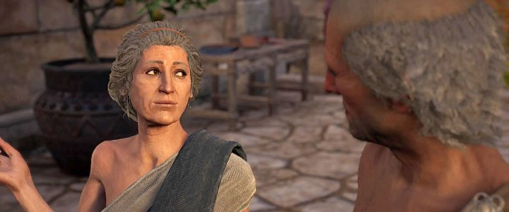 The first love interest is Auxesia - you can find her near the Temple of Apollo - Phokis Map - tombs, ostracons, documents, secrets - World Atlas - Assassins Creed Odyssey Guide