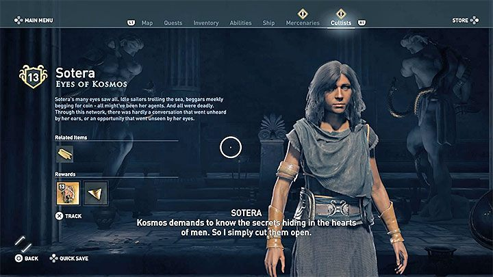 After clicking any cultist, the game will show you his bio - Who are Kosmos Cultists in Assassins Creed Odyssey? - Kosmos Cultists - Assassins Creed Odyssey Guide
