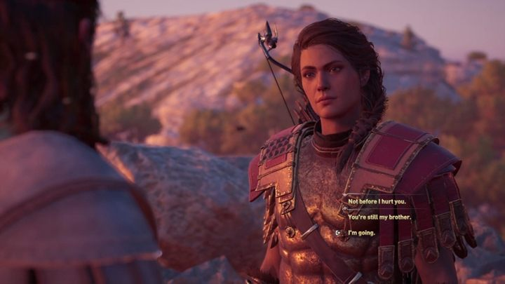 When you leave the mysterious ruins on the island, you will meet Deimos - Important choices in Chapter 4 of Assassins Creed Odyssey - Important choices - Assassins Creed Odyssey Guide