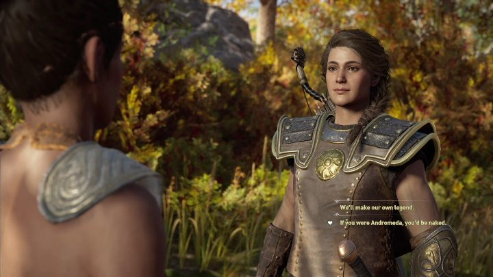 During this conversation you will be able to take the first step towards a romance with this woman - Thyia - Romances in Assassins Creed Odyssey - Romances - Assassins Creed Odyssey Guide