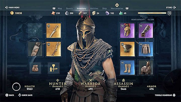 Level and stats of your items are also important in your preparations for a fight - Combat guide to Assassins Creed Odyssey - Tips - Assassins Creed Odyssey Guide