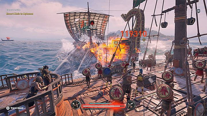 During the later stages of the game you can purchase a ship upgrade called Fire Braziers - Sailing and ship management in Assassins Creed Odyssey - Tips - Assassins Creed Odyssey Guide