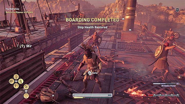 The second recommended way to end the battle is to carry out a boarding - Sailing and ship management in Assassins Creed Odyssey - Tips - Assassins Creed Odyssey Guide