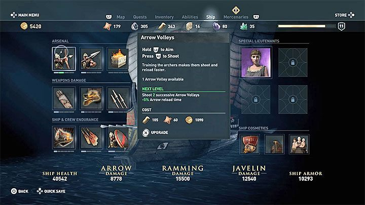 Adrestia can be upgraded in any moment after selecting the Ship tab in the menu - Sailing and ship management in Assassins Creed Odyssey - Tips - Assassins Creed Odyssey Guide