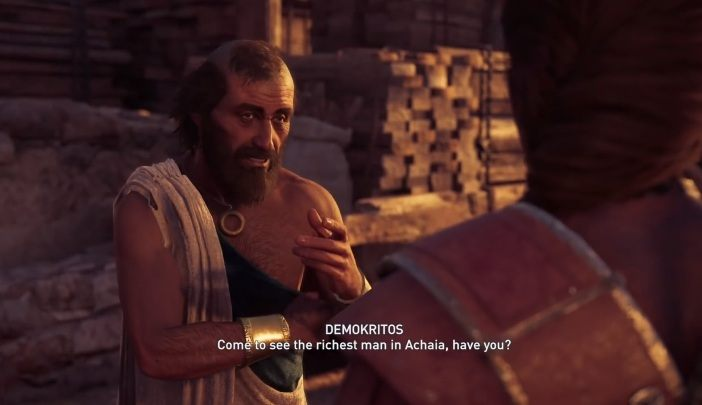 In Assassins Creed Odyssey, youll get to know the character of Demokritos - Historical Figures in Assassins Creed Odyssey - Tips - Assassins Creed Odyssey Guide