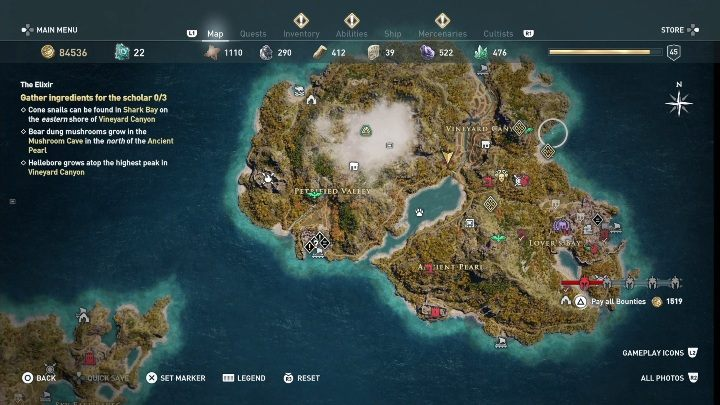Description: You need to find 3 ingredients for the elixir - Side Quests on Lesbos Island in Assassins Creed Odyssey - Side Quests - Assassins Creed Odyssey Guide