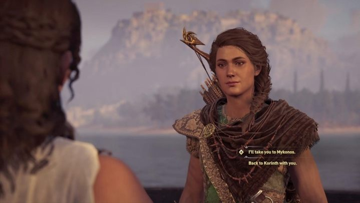 You now have to make a choice - you can order the woman to go back to Korinth or you can take her to Mykonos - Land of the Lawless - Assassins Creed Odyssey Walkthrough - Main Storyline - Assassins Creed Odyssey Guide