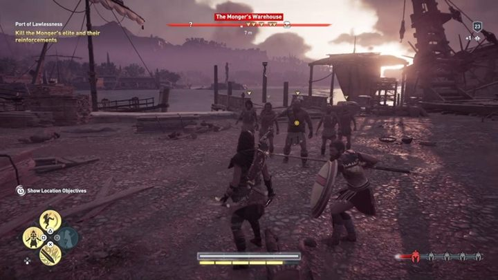 Speak with the man and then kill the enemies outside the warehouse - Land of the Lawless - Assassins Creed Odyssey Walkthrough - Main Storyline - Assassins Creed Odyssey Guide