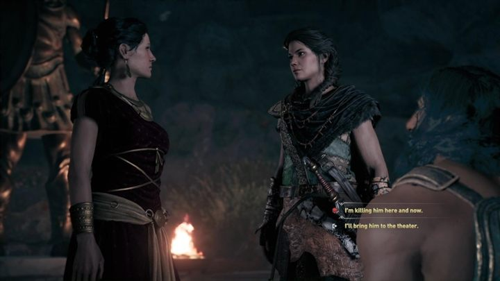 You now have to make a choice - you can kill the man right now, here, in the cave or you can take him to the theater where he will be executed - Land of the Lawless - Assassins Creed Odyssey Walkthrough - Main Storyline - Assassins Creed Odyssey Guide