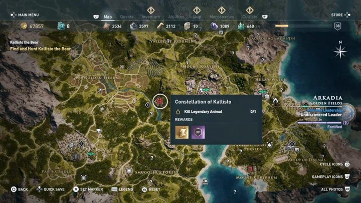 Location: Arkadia - Constellation of Kallisto (Arkadia) - Hunting for Seven Beasts - Hunting for Seven Beasts - Assassins Creed Odyssey Guide