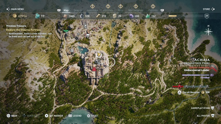 Description: Go to Olouros Fortress and collect the item (its location is presented in the picture above) - Side Quests in Pirate Islands in Assassins Creed Odyssey - Side Quests - Assassins Creed Odyssey Guide