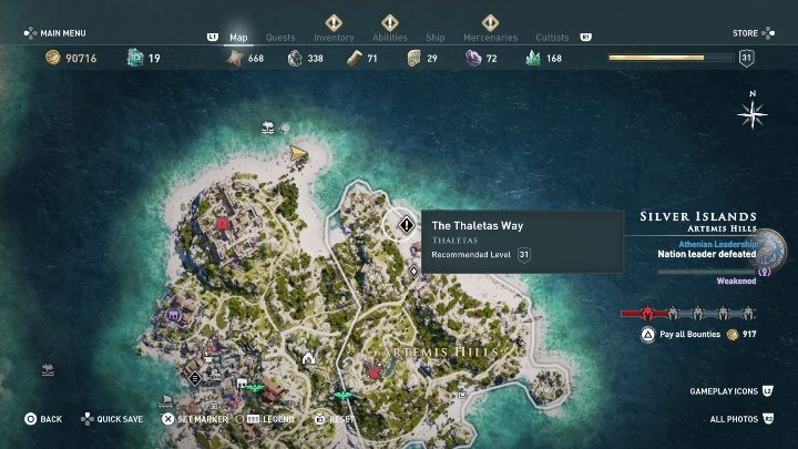 How to start: Speak with Thaletas after Goddess of the Hunt quest - Side Quests on Silver Islands in Assassins Creed Odyssey - Side Quests - Assassins Creed Odyssey Guide
